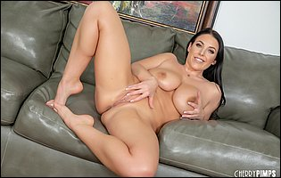 Cute busty brunette Angela White getting nude in front of the camera