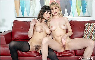Naughty beauties Audrey Noir and Verronica Kirei get lezzing in front of the camera