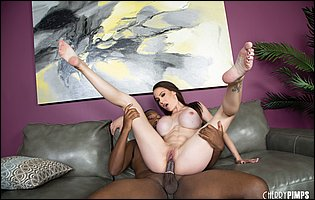 McKenzie Lee spreads legs to take a big black cock