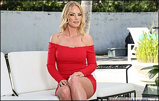 Rachael Cavalli strips her short red dress and presents hot body outdoor