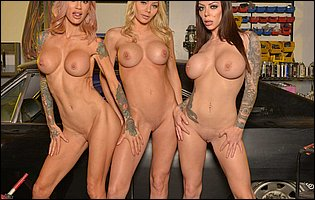 Three horny beauties Karma Rx, Riley Steele and Sarah Jessie exposing their hot bodies in garage