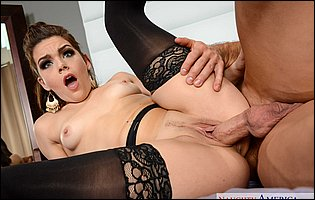 Kimber Woods in black stockings gets her pussy filled with big cock