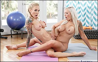 Hot sporty MILFs Nina Elle and Sarah Jessie posing naked for your pleasure