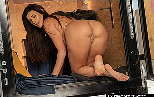 Gorgeous brunette MILF Becky Bandini getting nude outdoor