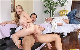 Diana Grace sucking and fucking a big hard cock in front of her cuckold boyfriend