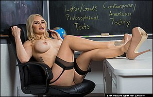 Hot teacher Claudia Valentine strips and poses in classroom