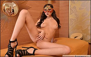 Ariana Marie in sexy mask and heels exposing her tight body