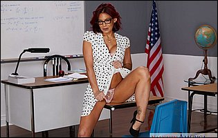Hot teacher Ryder Skye strips and presents tight body in classroom