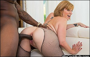 Sara Jay in fishnet pantyhose getting fucked by her black lover