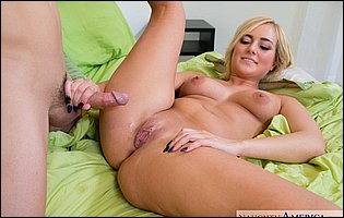Kate England gets fucked and takes cum on her bald pussy