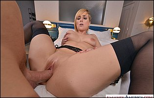 Kate England in black lingerie and stockings getting fucked in POV