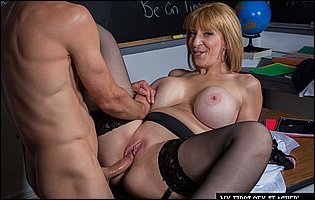 Sex teacher Sara Jay getting fucked by handsome student
