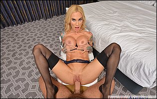 Sexy blonde Sarah Jessie in black stockings giving blowjob and getting banged in POV