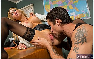 Sarah Jessie getting fucked by handsome tattooed guy in the office
