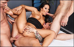 Lusty bitches Asa Akira and Christy Mack fucking two horny guys