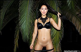 Alina Lopez takes off her black bra and panties outdoor