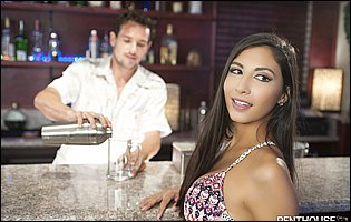 Gorgeous brunette Gianna Dior enjoying sex with handsome bartender