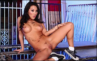 Asa Akira stripping and teasing with hot body