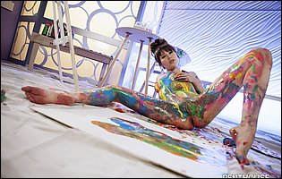 Beautiful painter Shyla Jennings posing and spreading legs