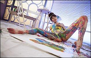 Beautiful painter Shyla Jennings posing and spreading legs