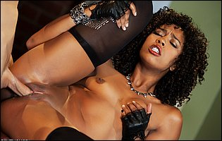 Misty Stone in black stockings getting fucked by young tattooed guy