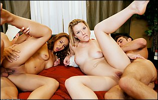 Hot beauties Sierra Day and Sohley Cancino fucking with two guys