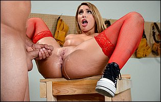August Ames in red stockings gets her pussy fucked and creampied