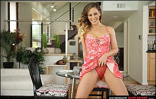 Cherie Deville strips off her beautiful pink dress and panties