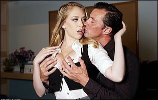 Gorgeous secretary Kagney Linn Karter getting banged by her handsome muscular boss