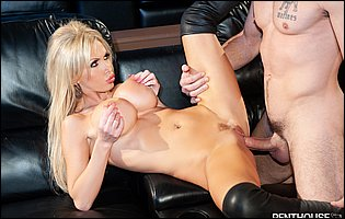 Classy blonde Nikki Benz in black leather boots getting fucked by Charles Dera