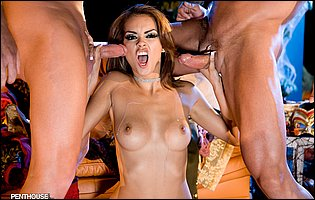 Daisy Marie gets banged hard by two muscular guys