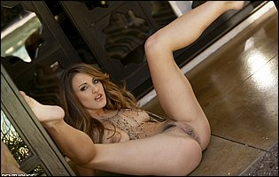 Gorgeous brunette Andie Valentino exhibits perfect nude body