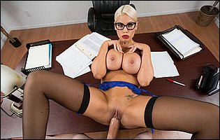 Busty teacher Bridgette B bounces up and down on a hard cock