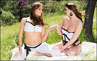 Adrienne Manning and Nika Noire making hot lesbian love outdoor