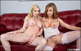 Beautiful MILFs Britney Amber and Christie Stevens having lesbian fun for camera
