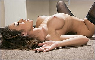 Capri Cavanni stripping and teasing with hot body in the office