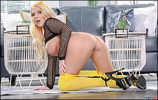 Christie Stevens in fishnet top, yellow pantyhose and sexy heels loves teasing