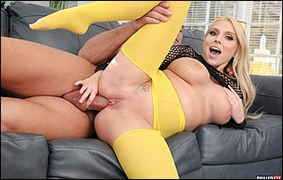 Christie Stevens in fishnet top and yellow pantyhose getting her pussy and asshole fucked