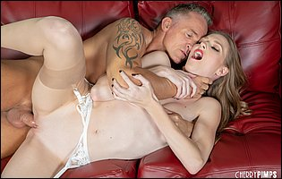 Gorgeous blonde Ashley Lane in nylons is having a hot sex with handsome older man