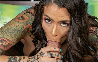 Trinity Blaze in black stockings gets banged in many positions by tattooed guy