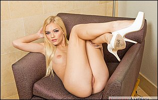 Alex Grey in white high heels exposing hot body
