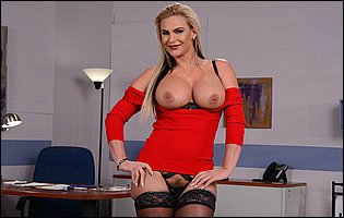 Phoenix Marie stripping and teasing in the office