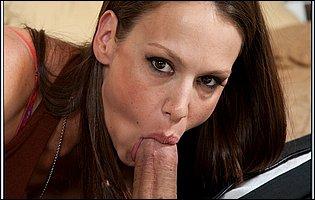 Sexy brunette McKenzie Lee enjoying big fat cock deep in her tight cunt