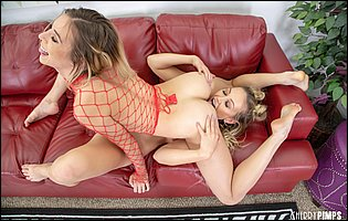 Hot blonde MILFs Adira Allure and Aiden Ashley having lesbian fun on couch
