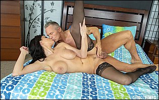 Becky Bandini in black stockings getting fucked by handsome older man