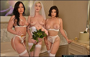 Jennifer White, Maria Antonella and Skye Blue in white lingerie and stockings posing in the bathroom