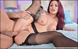 Lusty redhead Monique Alexander in black stockings loves big cock in her tight cunt