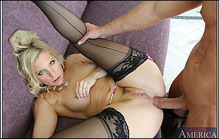 Ashley Fires in black stockings spreads legs to take a big cock in her tight asshole