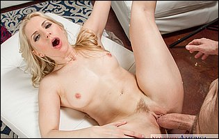 Lusty blonde MILF Ashley Fires sucking and fucking a big fat hard cock