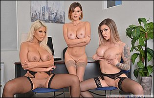 Bridgette B, Karma Rx and Krissy Lynn exposing hot bodies in the office